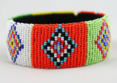 African Beaded Cuff Bangle Red White Green Blue - culturesinternational  - 1