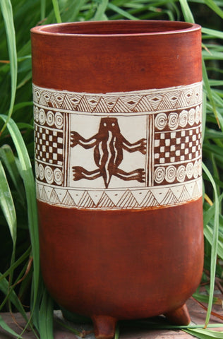 African Clay Pottery Vase - Cave Art - Cultures International From Africa To Your Home