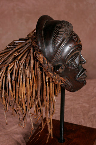 African Chokwe Female Mask With Braids & Locks - Congo DRC