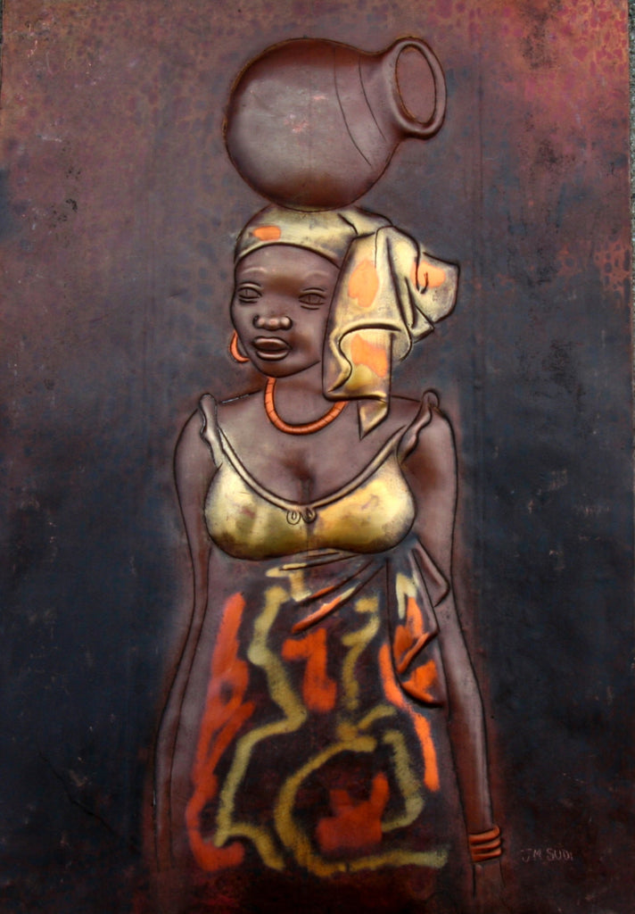 "African Copper Art  - African Beauty Serenely Carrying Pot -Congo DRC - 8"" X 12"" - Cultures International From Africa To Your Home"