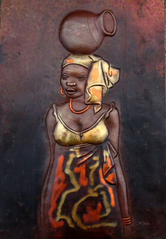 "African Copper Art African Beauty Serenely Carrying Pot -Congo 8"" X 12"" - culturesinternational"