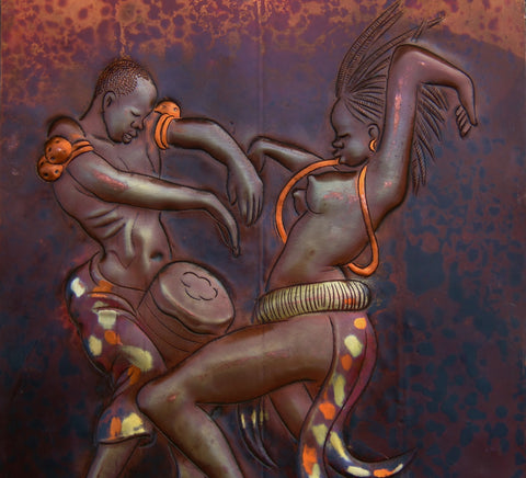 "African Copper Art  - African Couple Dancing with Conga -Congo DRC - 8"" X 12"""