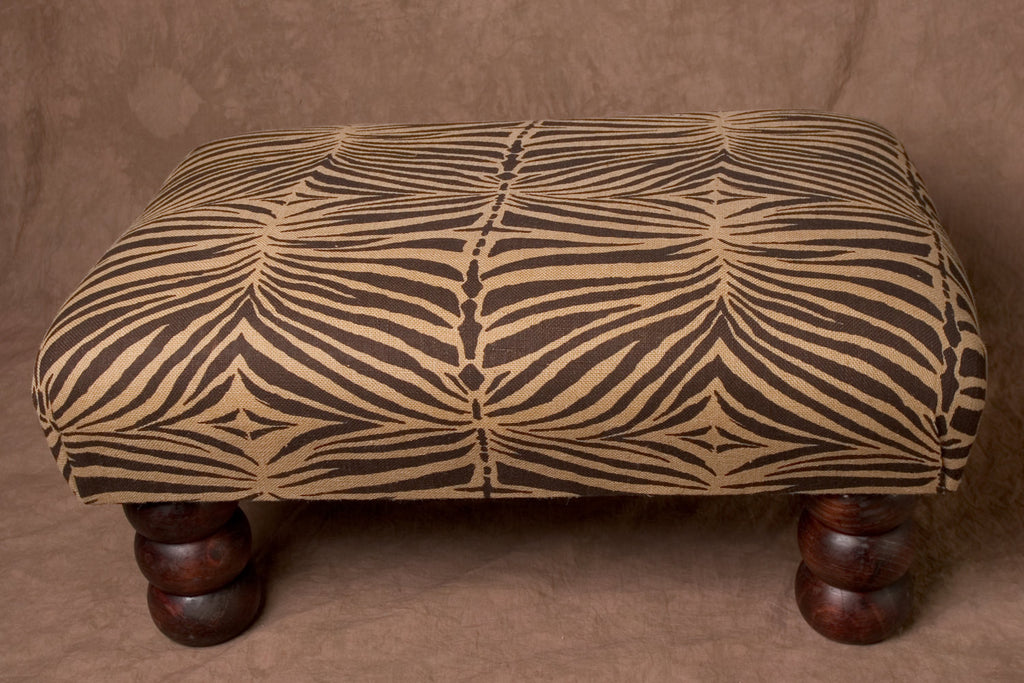 Vintage African Zebra Print Bench/Ottoman/Coffee Table - Cultures International From Africa To Your Home