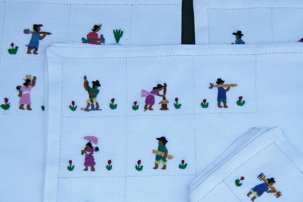White Dinner Napkins Petite Embroidery African People Set of 4 - Madagascar