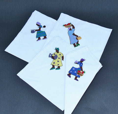 White Dinner Napkins Embroidered African People Set of 4 - Madagascar