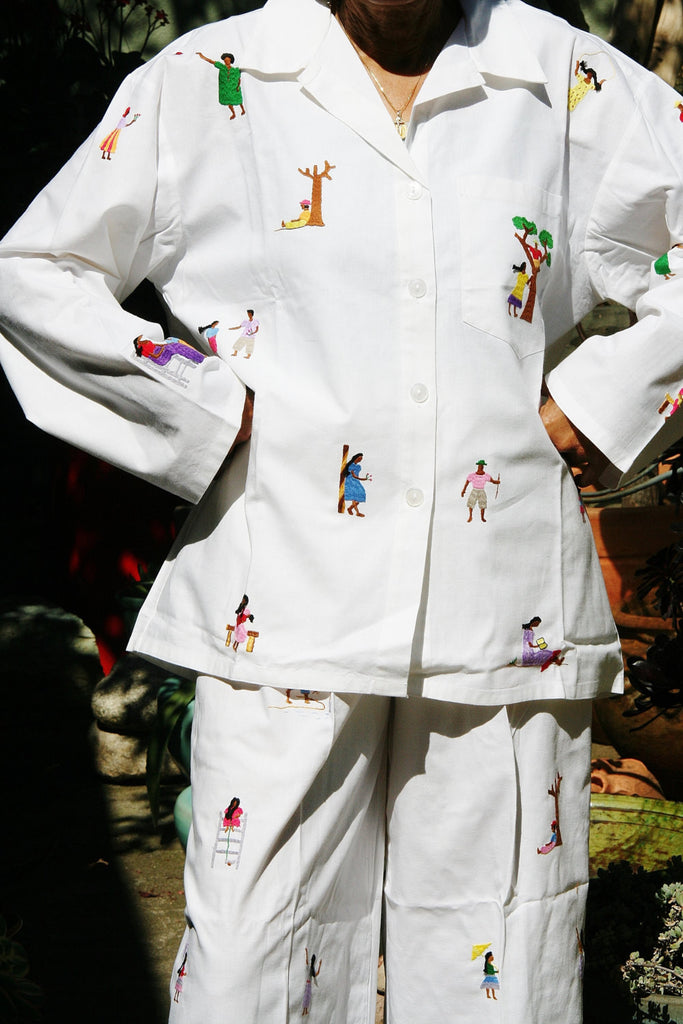 White Lounging Pajamas with Colorful Embroidered African People - Madagascar - culturesinternational  - 1