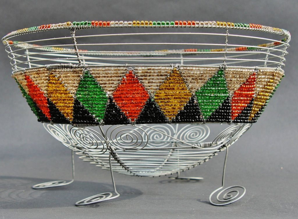 African Bead and Wire Tribal Design Fruit Bowl - Cultures International From Africa To Your Home