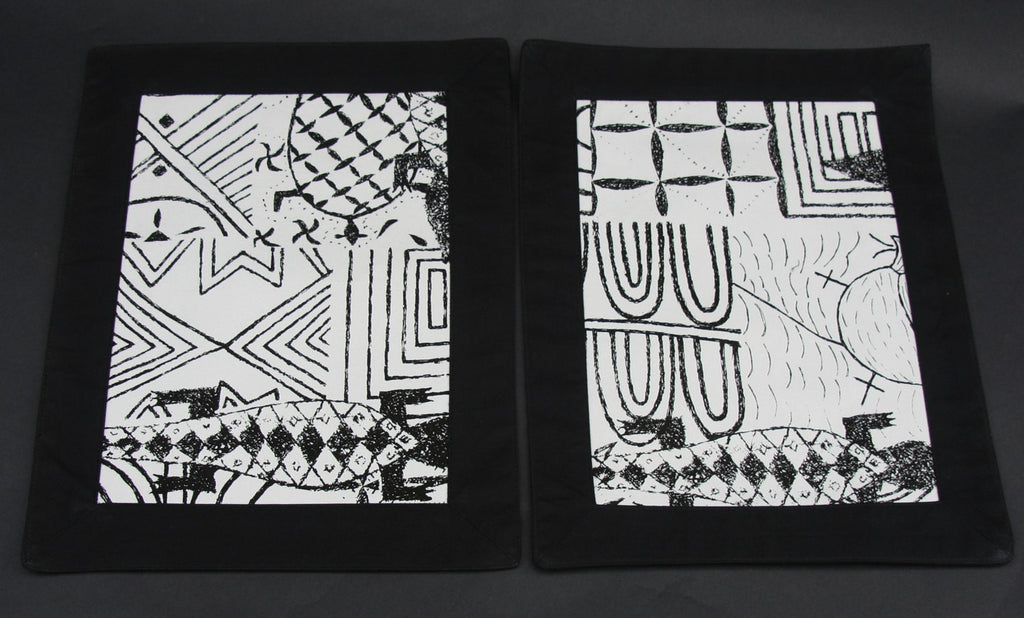 Artisan Cotton Placemats/Tablemats Black and White - Handmade - Cultures International From Africa To Your Home