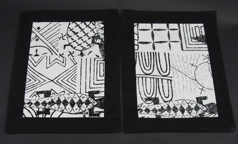 Placemat Bushman Wall Art Black and White - Cave Art - Cultures International From Africa To Your Home