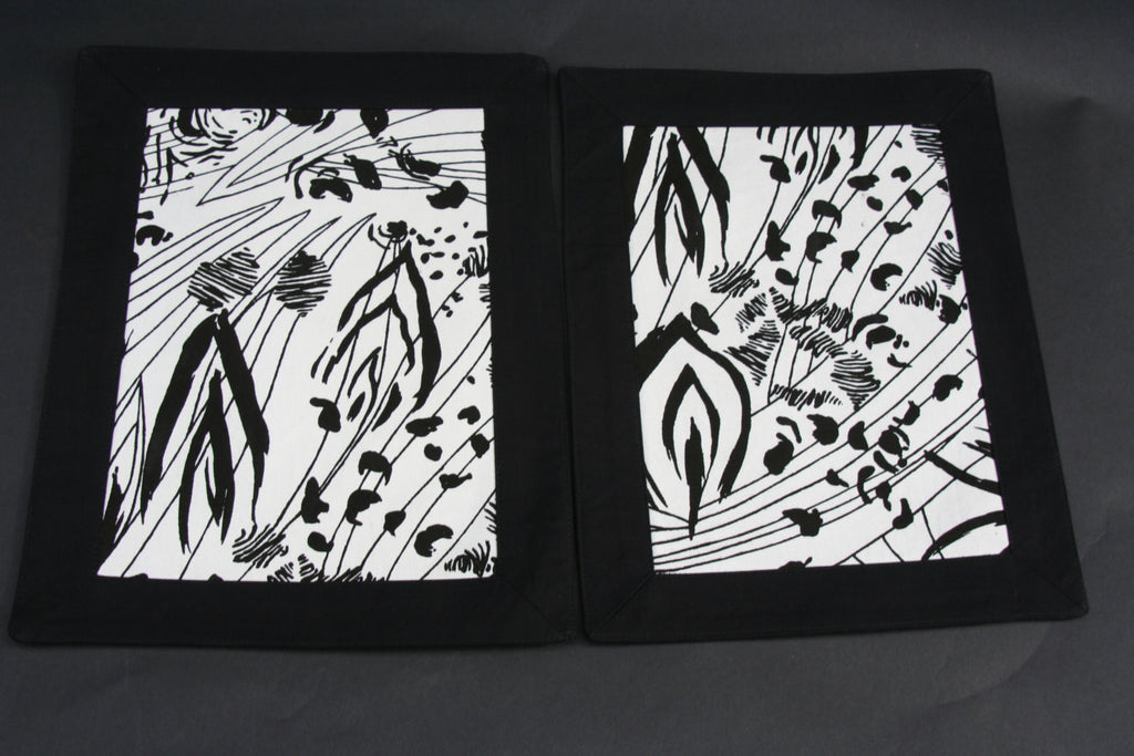 African Abstract Foliage Print Tablemat Black and White (1) - culturesinternational  - 1