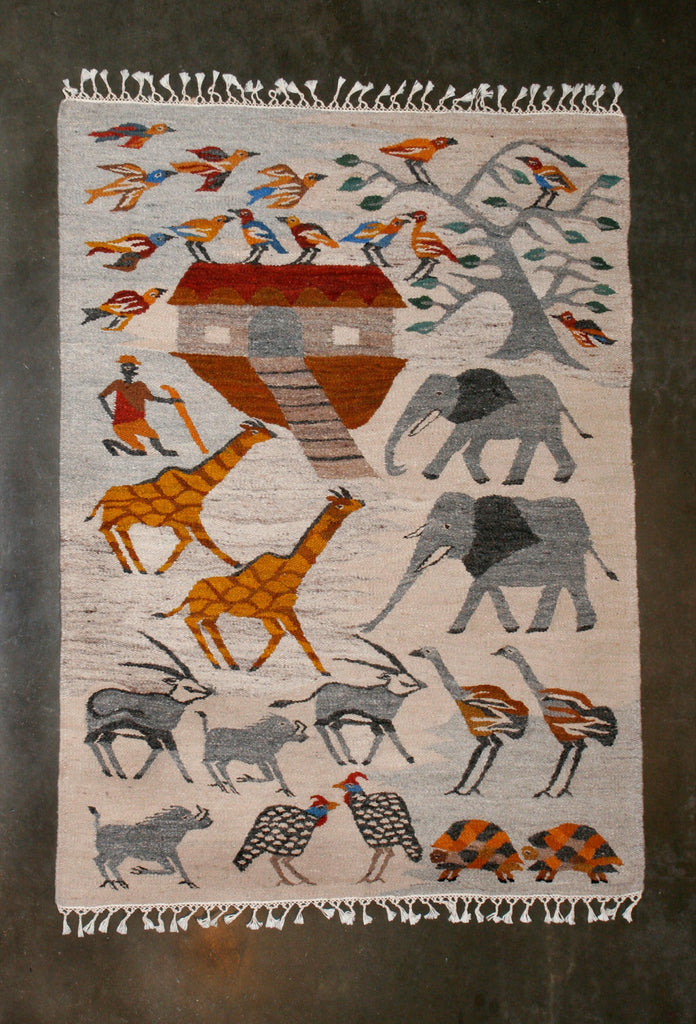"Noah's Ark Carpet African Wool Handwoven in Namibia 70.25"" X 59"" - Cultures International From Africa To Your Home"