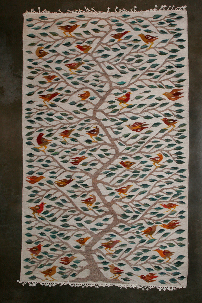 "Bird Tree African African Wool Carpet Handwoven in Namibia 114"" X 65"" - Cultures International From Africa To Your Home"