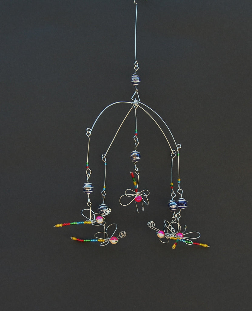 Suncatcher Dragonfly Bead and Recycled Glass Mobile - Handcrafted in Zimbabwe