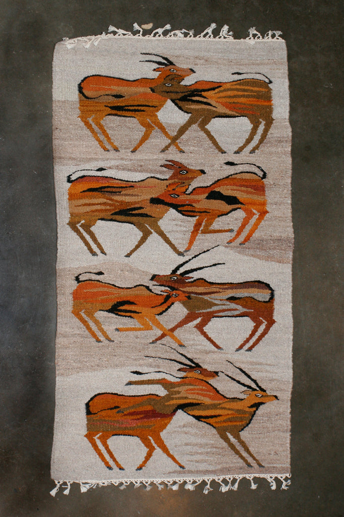 "African Antelope Carpet Handwoven in Namibia 74"" X 35"" - Cultures International From Africa To Your Home"