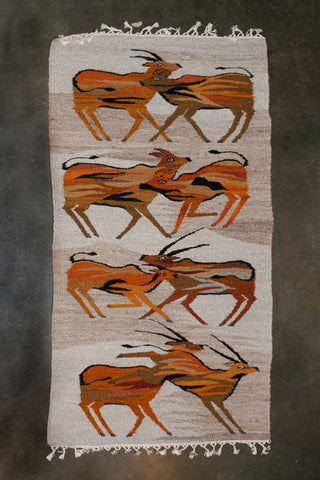 "African Antelope Carpet Handwoven in Namibia 74"" X 35"""