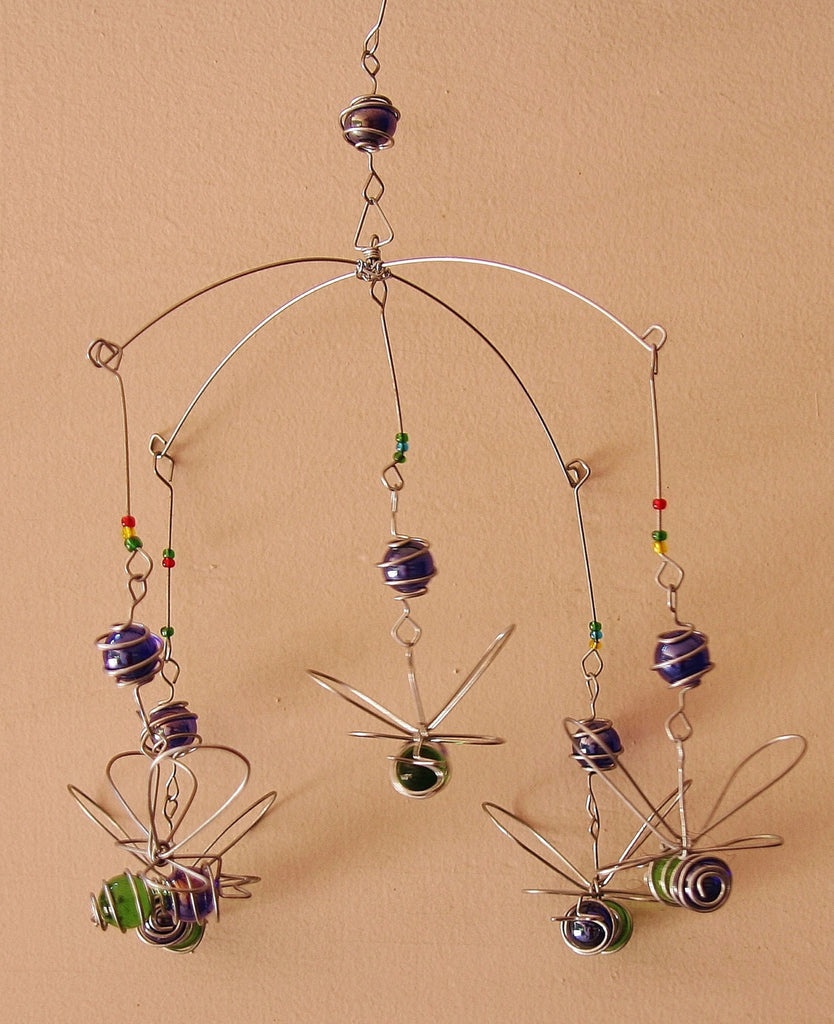 Suncatcher Bumble Bee Bead and Recycled Glass Mobile - Handcrafted in Zimbabwe - Cultures International From Africa To Your Home
