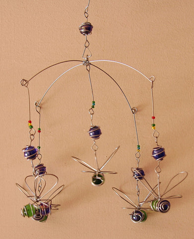 Suncatcher Bumble Bee Bead and Recycled Glass Mobile - Handcrafted in Zimbabwe