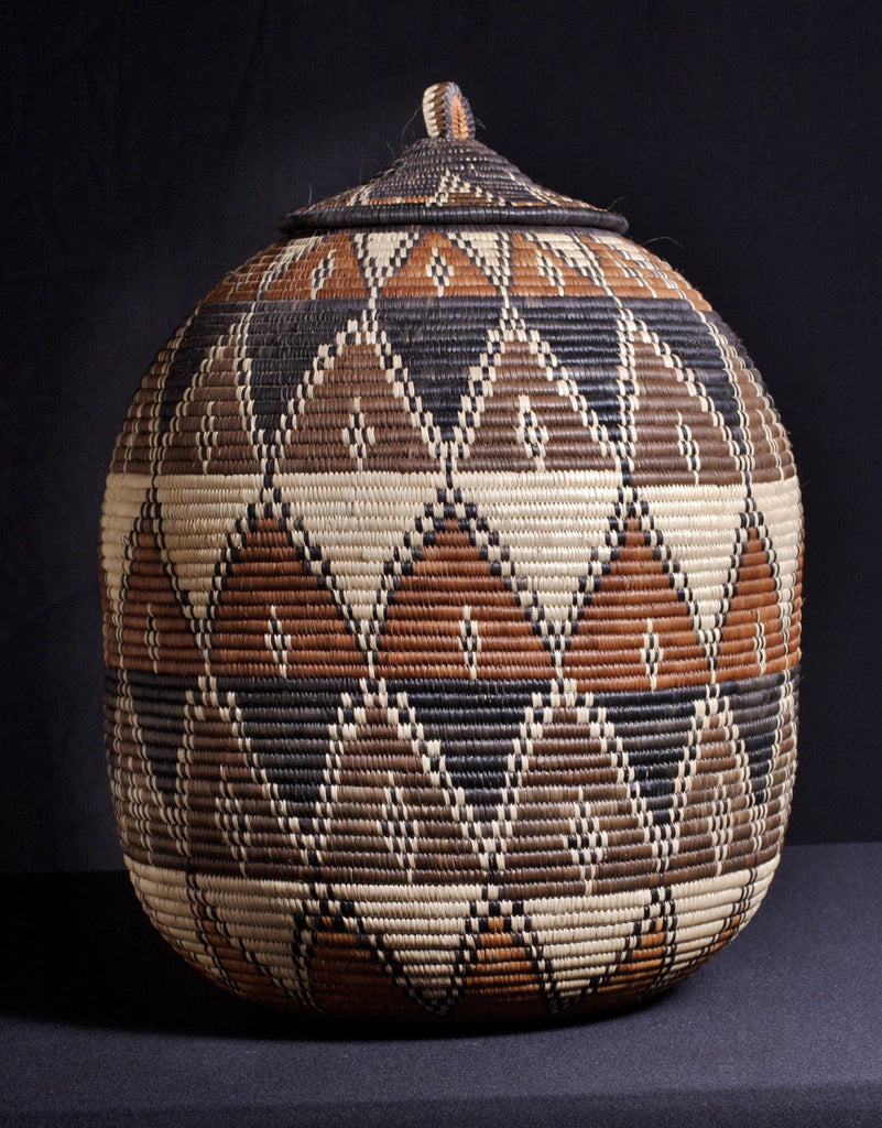 "Vintage African Zulu Basket - Marriage Design 19"" H X  47""C"