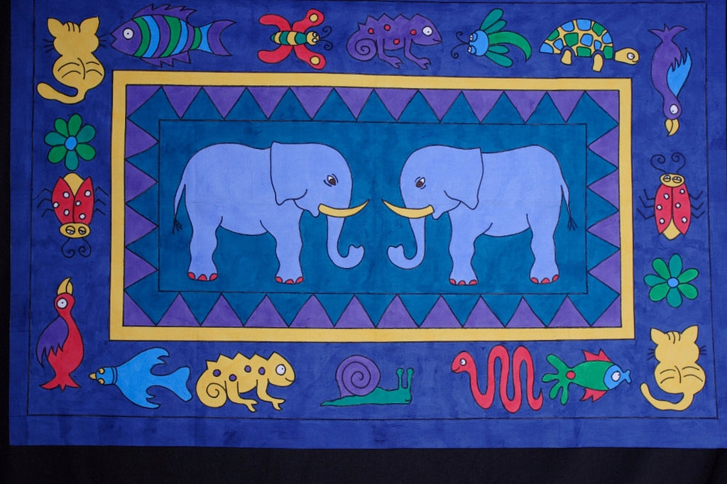"Elephant Wall Hanging - 45"" X 65""  Handpainted in South Africa - Cultures International From Africa To Your Home"