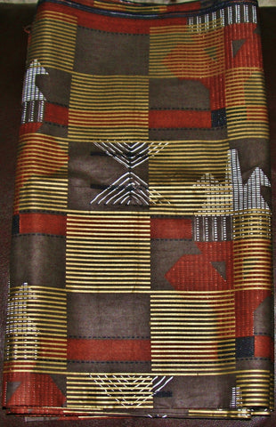 African Vlisco Classic Wax Print Fabric 6 Yards Gold Copper Silver