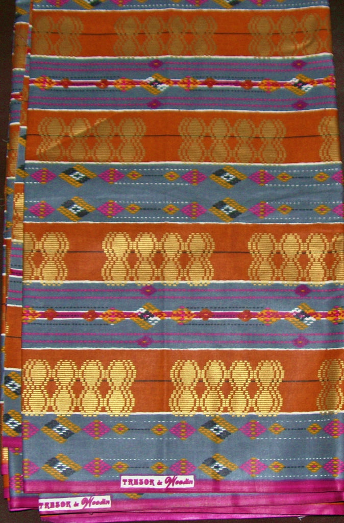 African Fabric 6 Yards Superwax Gold Copper Blue - Cultures International From Africa To Your Home