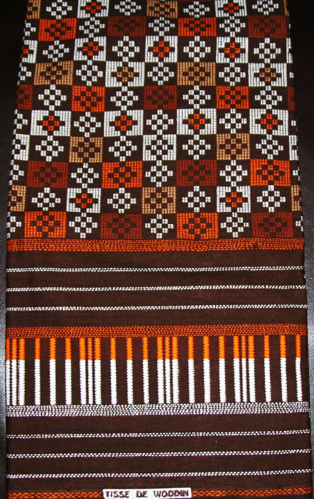 African Fabric 6 Yards Vlisco Tisse de Woodin Superwax  Brown Red White - Cultures International From Africa To Your Home