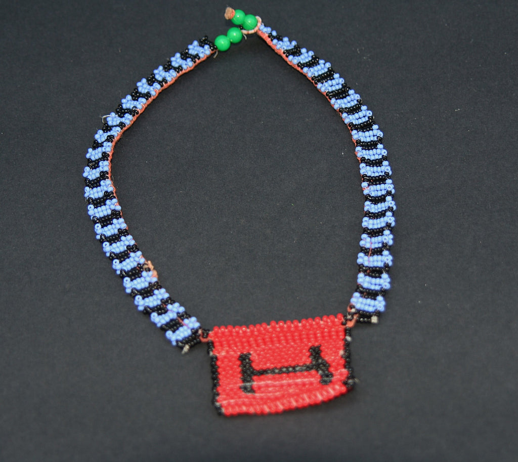 Vintage African Zulu Love Letter Beaded Choker Necklace Blue, Red, Black