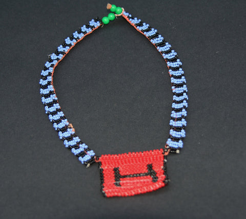 Vintage African Zulu Love Letter Beaded Choker Necklace Blue, Red, Black - Cultures International From Africa To Your Home