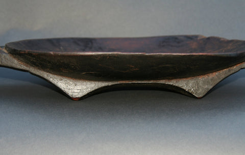 African Zulu Meat Platter Wood Carved Leather Strap - South Africa