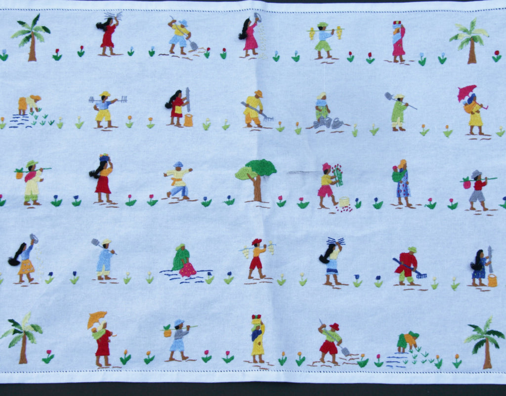 "Embroidered Place Mat/Tray Cloth/African Art 19"" X 14"" Handmade Madagascar Vintage"