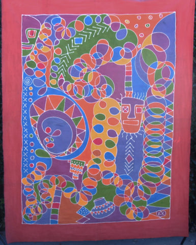 "African Batik Zimbabwe 58"" X 77 - Vintage Abstract Vivid Bright Colors"