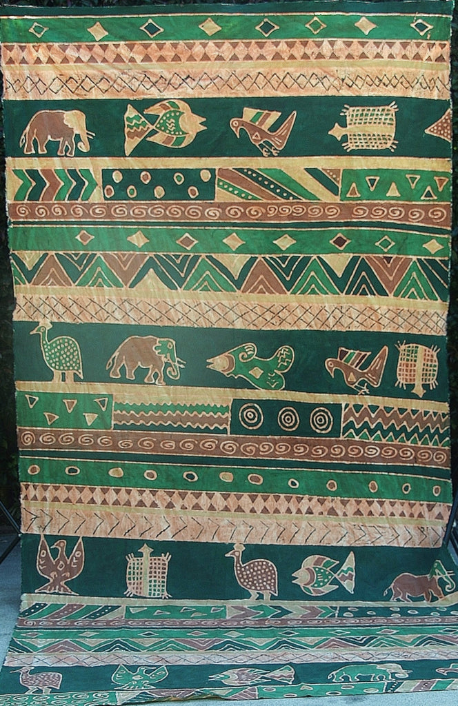 "African Batik Guinea Fowl, Fish, Elephant, Turtle Green Gold Beige 62"" X 124"" - Cultures International From Africa To Your Home"