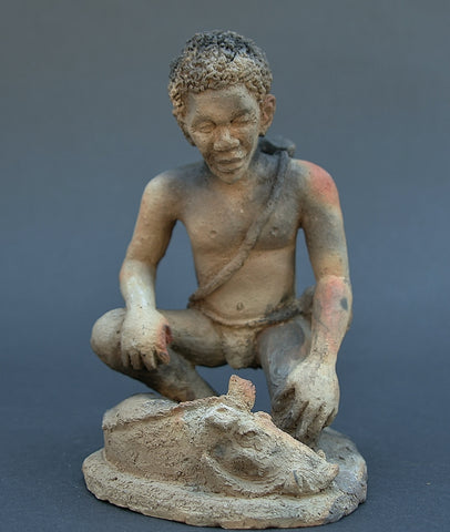 "African Hunter Sculpture  7"" X 5.5"""