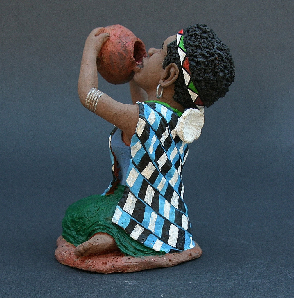 "African Woman Sculpture Drinking from Pot 5.75"" X 3.5"" X 3.5"" - Cultures International From Africa To Your Home"
