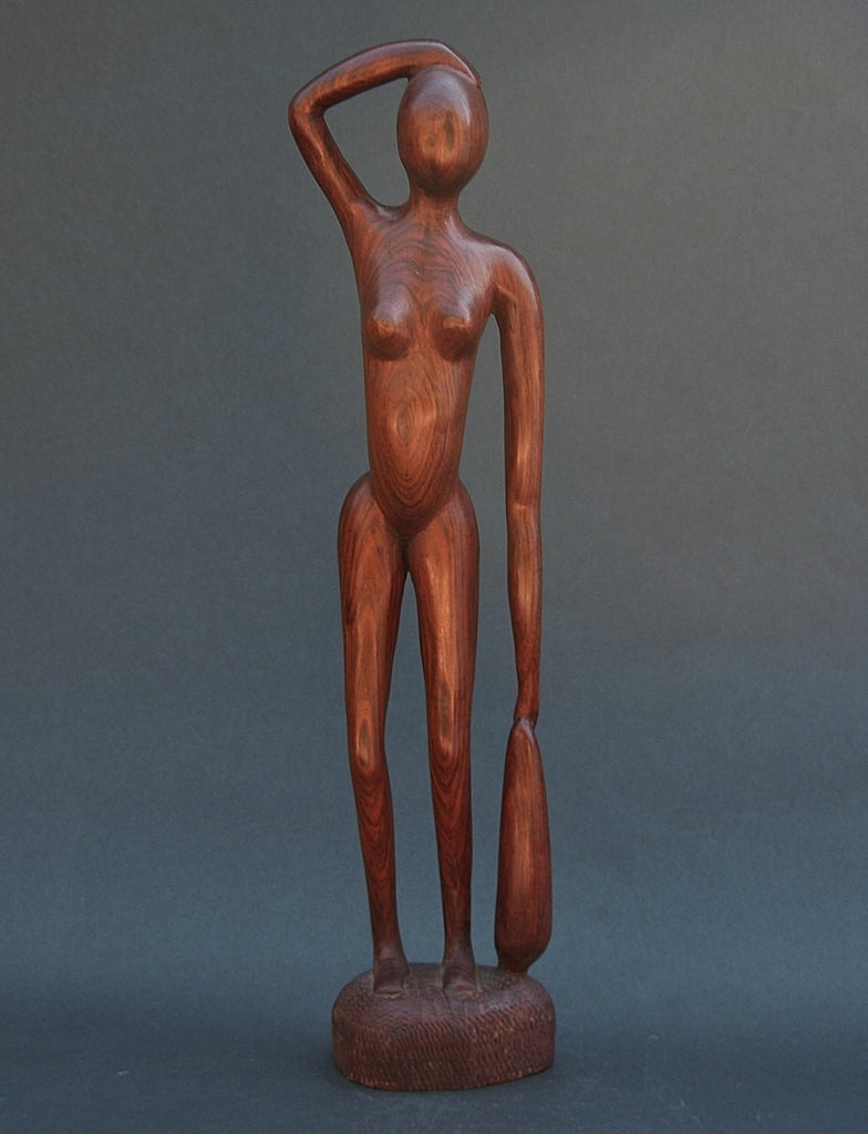 Sculpture African Nude WomanTanzania Carved Mahogany Wood - Cultures International From Africa To Your Home