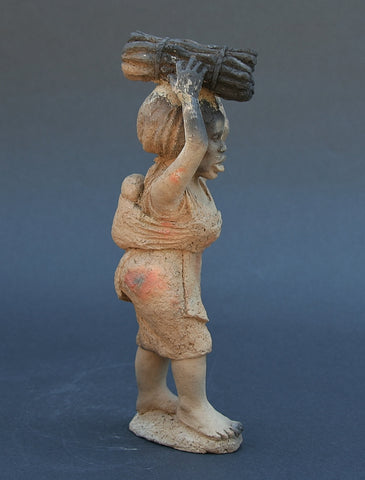 "African Sculpture Woman Carrying Firewood with Baby On Back  9.75"" X 3.5"""