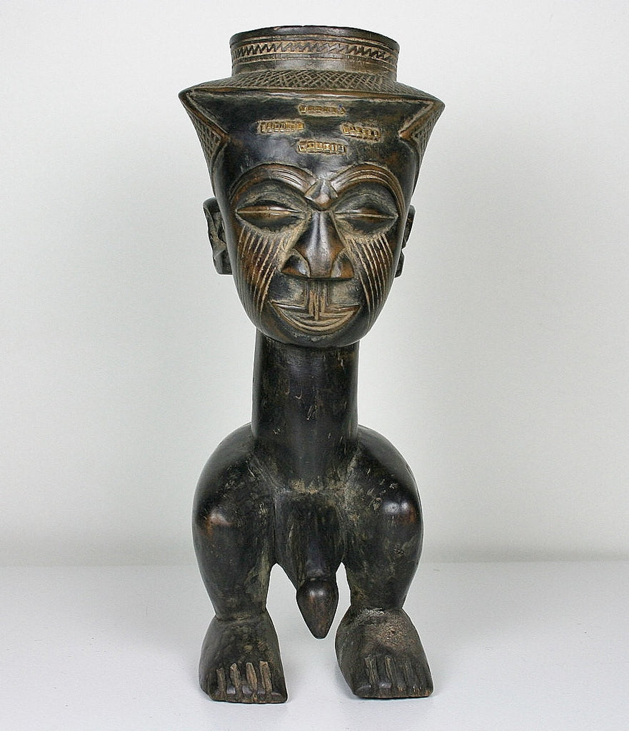 "African Male Sculpture Kuba Royal Fertility Cup Congo 11.5"" H X 5"" W - Cultures International From Africa To Your Home"