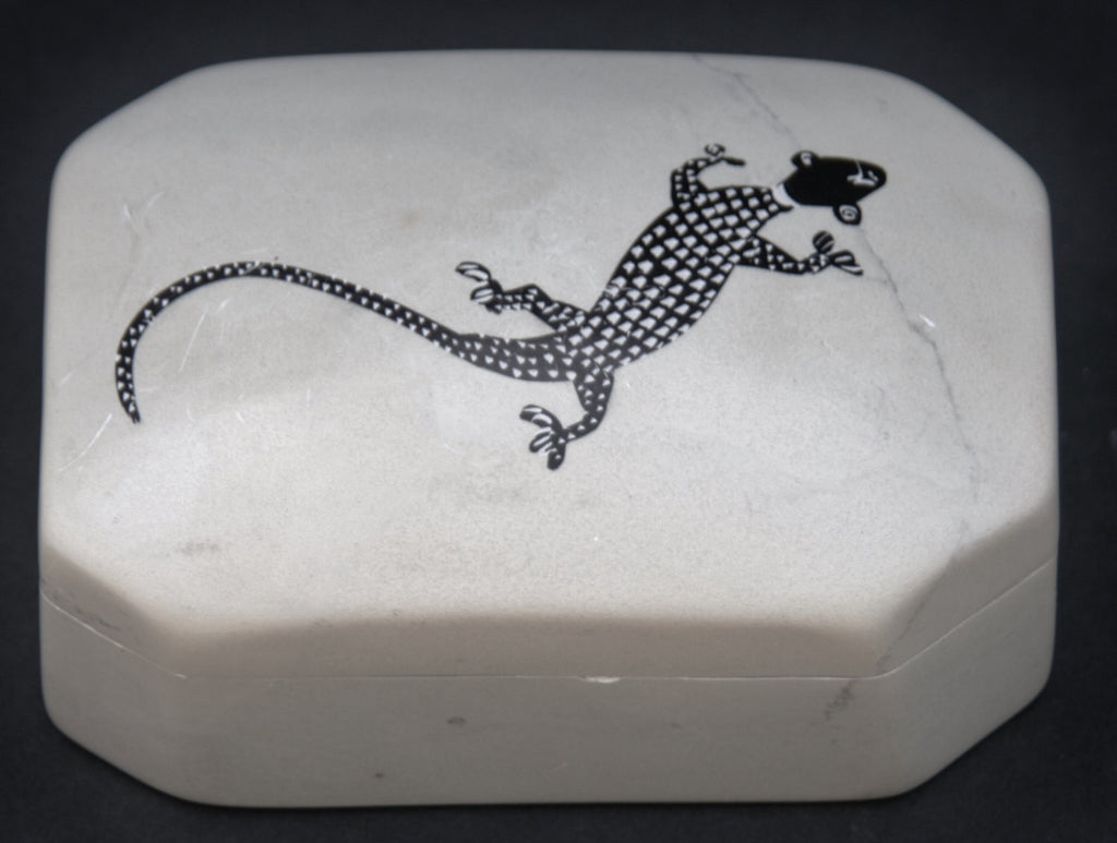 Soapstone Jewelry/Trinket Box Lizard Design Kenya - Cultures International From Africa To Your Home