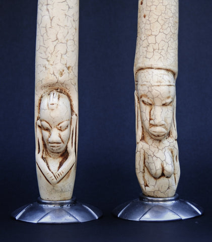 Candleholders Faux Ivory Tusk Tribal Couple
