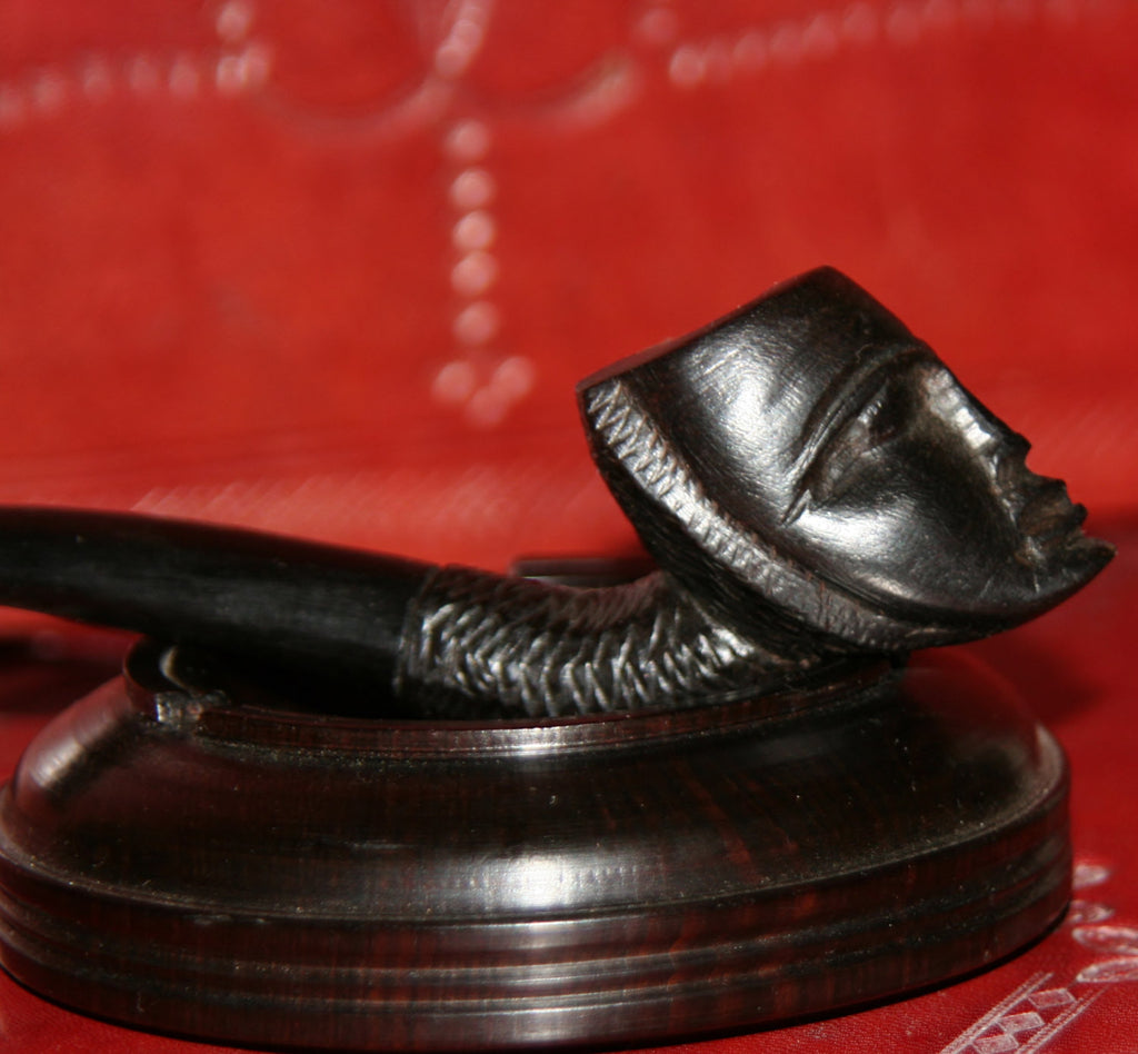 African Mask Pipe and Ashtray Carved Ebony Wood Tanzania - culturesinternational  - 1