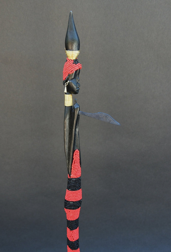 "Vintage Beaded African Tribal Stick Doll Female Red/Black Beads Carved Ebony Wood and Bronze  22"" H - culturesinternational  - 1"
