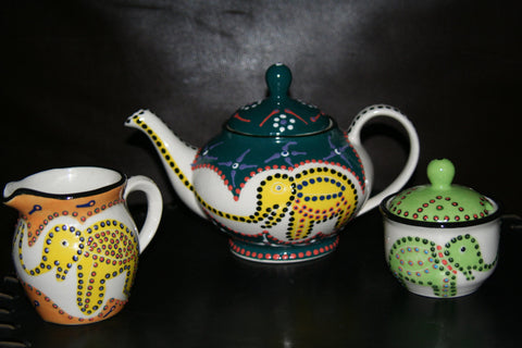 Ceramic Elephant Design Tea Pot Sugar and Creamer 3 Pc Handcrafted South Africa
