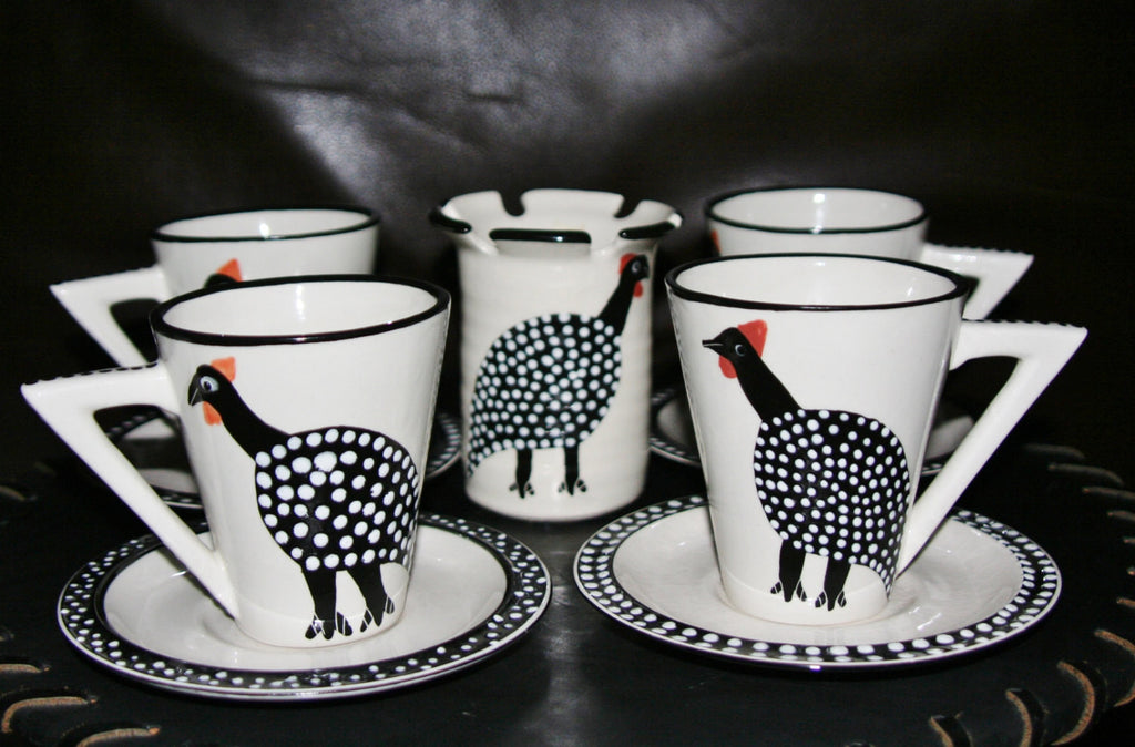 Ceramic Tea/Coffee Set Guinea Fowl Spoon Caddy 9 Pc. South Africa