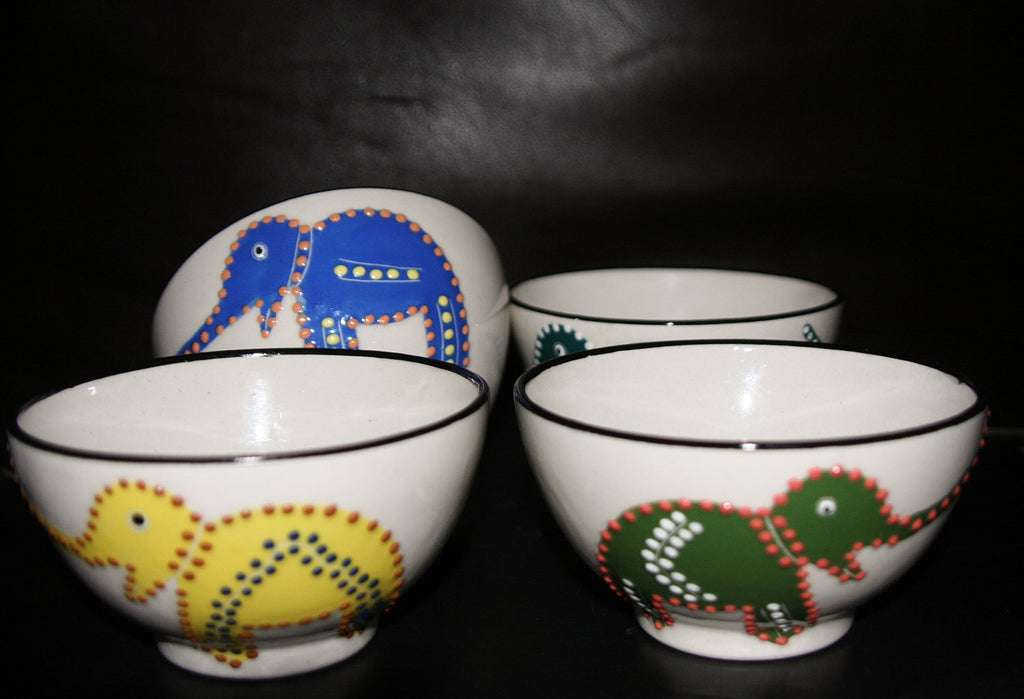 Ceramic Elephant Design Bowls 4 Handcrafted South Africa - Cultures International From Africa To Your Home
