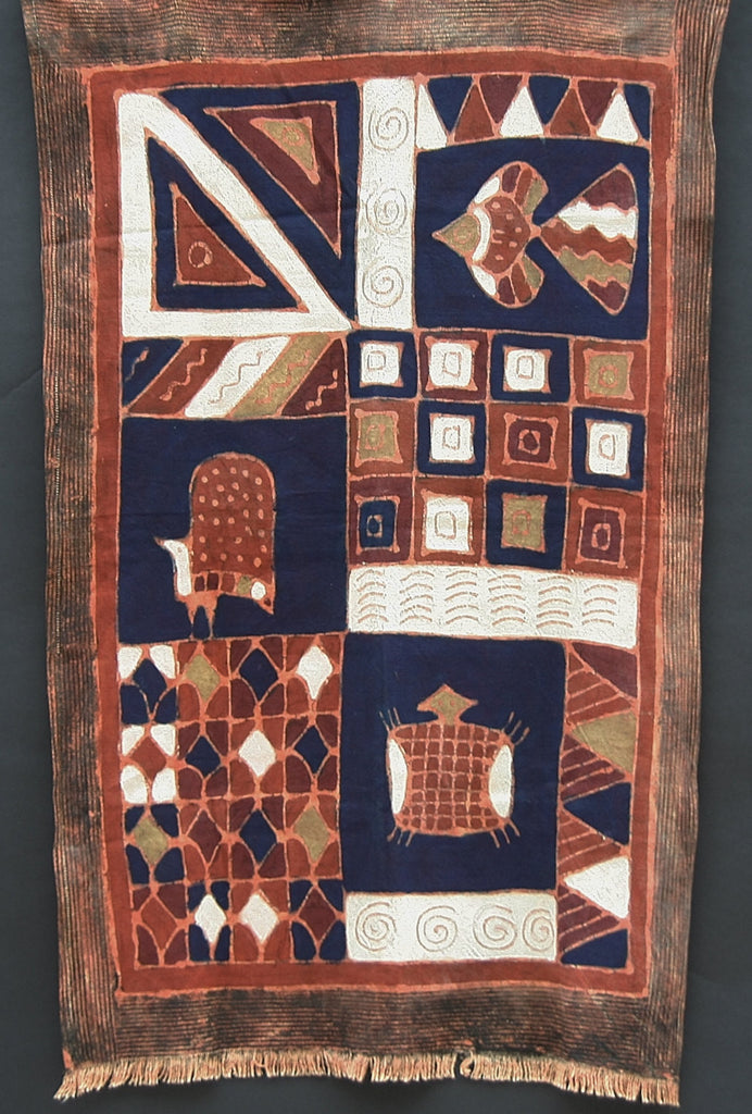"African Batik Textile Turtle, Fish, Guinea Fowl,Tribal Design 34"" X 55"" Handmade Zimbabwe - Cultures International From Africa To Your Home"