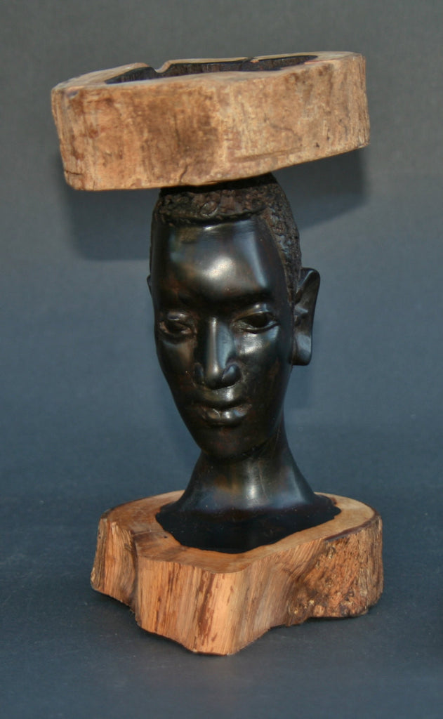 African Makonde Raw Ebony Wood Carved Sculpture Tribal Bust Ashtray - Tanzania