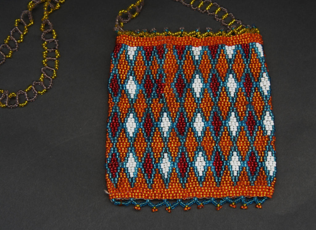 African Beaded Cell Phone Holder Bag OrangeGold Blue, White Long Shoulder Strap Handcrafted South Africa - Cultures International From Africa To Your Home