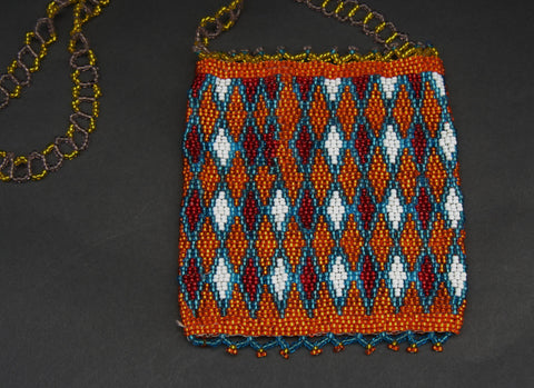 African Beaded Cell Phone Holder Bag OrangeGold Blue, White Long Shoulder Strap Handcrafted South Africa