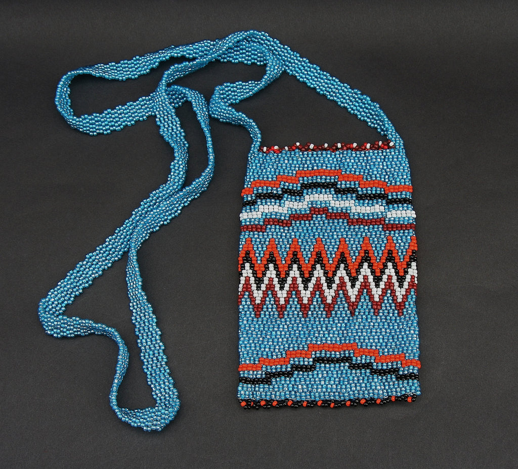 African Beaded Cell Phone Holder Bag Blue Orange Long Shoulder Strap Handcrafted South Africa - Cultures International From Africa To Your Home