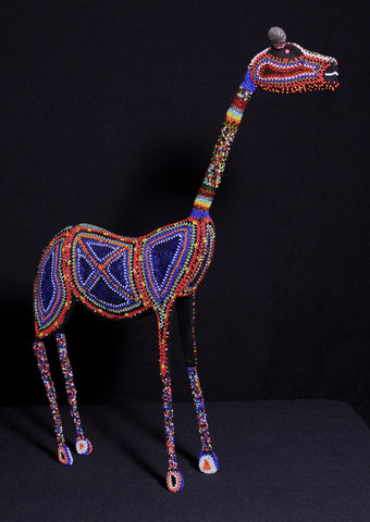 "Giraffe Bead and Wire Sculpture Zulu Vintage  -  27.5"" H X 21""  4"" W Handcrafted in South Africa"